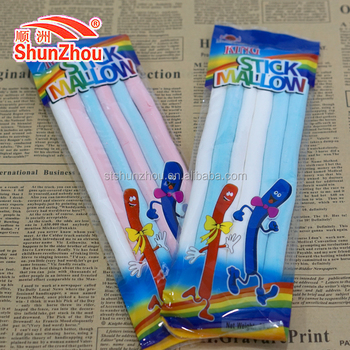 long noodle shape colorful king stick marshmallow cotton candy