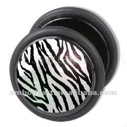 Zebra Print Fake Ear Plug Body Piercing Jewelry-SMFE036-S