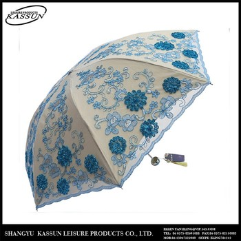 Quality-assured custom design promotional folding embroidery lace straight umbrella