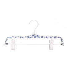 Blue and white porcelain laminated pant hanger with non-slip clips