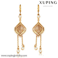 27969 New arrival wedding 18k gold color big chandelier earrings
