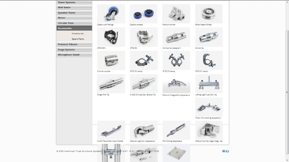 ATSS ACCESSORIES AND SPARE PARTS - Aluminum Truss Structural Systems