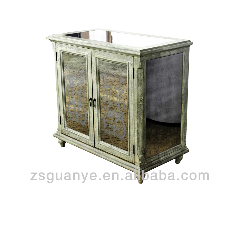 hot selling classic mirror accent printing and dyeing buffet cabinet