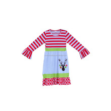 Newborn Baby Clothes Winter Toddler Girls Cotton Dresses Ruffle Sleeves Deer Pattern Christmas Children Frocks