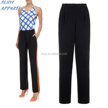 Black Cotton Graphic Stripe Bow-Leg Trouser Europe woman's summer flared pants contrast black and orange womens night trousers