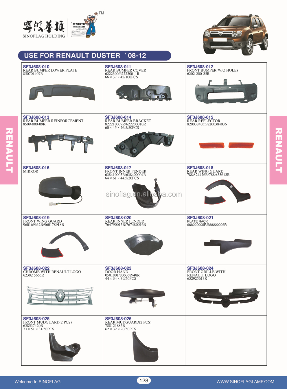 AUTO PARTS FOR RENAULT DUSTER 2008-2012