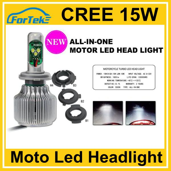 Waterproof All-in-one CREE led motorcycle headlight bulb DC 8V-32V 15W h1, h3, h4, h6, h7