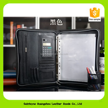 16014 A4 business zipper leather portfolio manager document holder bag brief sheets case with calculater