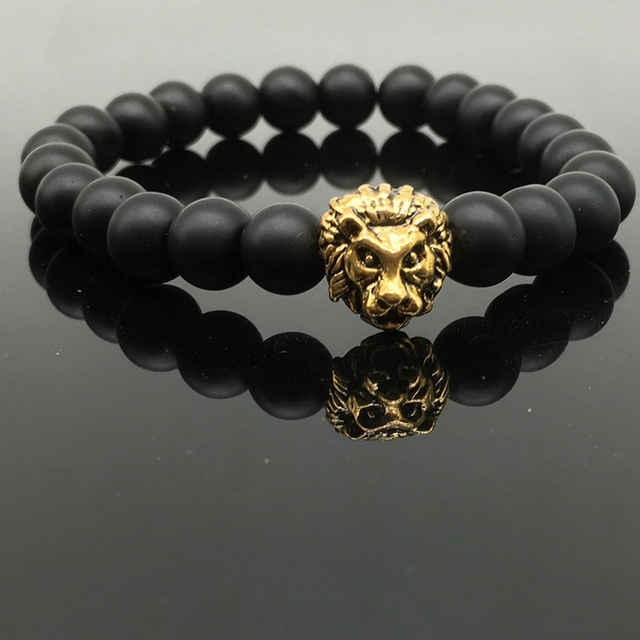 New Men's Black Matte Agate Stone & Golden Lion Head Bracelet 8mm Beads