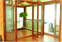 10 YEARS FACTORY!New latest house aluminum main gate designs folding door in wooden color