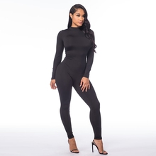 Sexy One- piece Bodycon Bandage Black Women Rompers Jumpsuits with Long Sleeves7420
