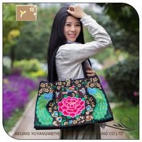 2016 new ethnic style double faced embroidery canvas bag in the elderly single shoulder bag lady handbag
