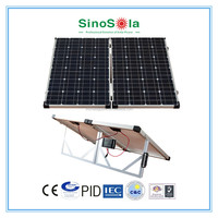 Portable folding solar panels system with single support of solar panel