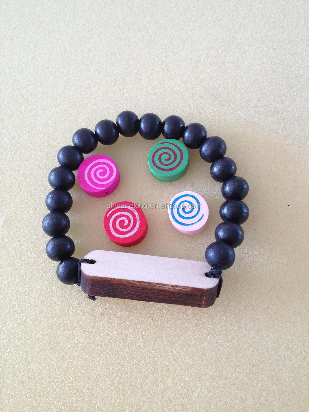 elastic wood bead bracelet with custom pendants wood beaded bracelet promotional wood bracelet with company logo
