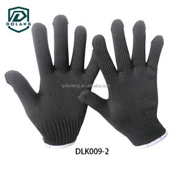 Weight High Quality 10g Bleached White Safety Working Short Fingers Cotton Gloves with Red Strips