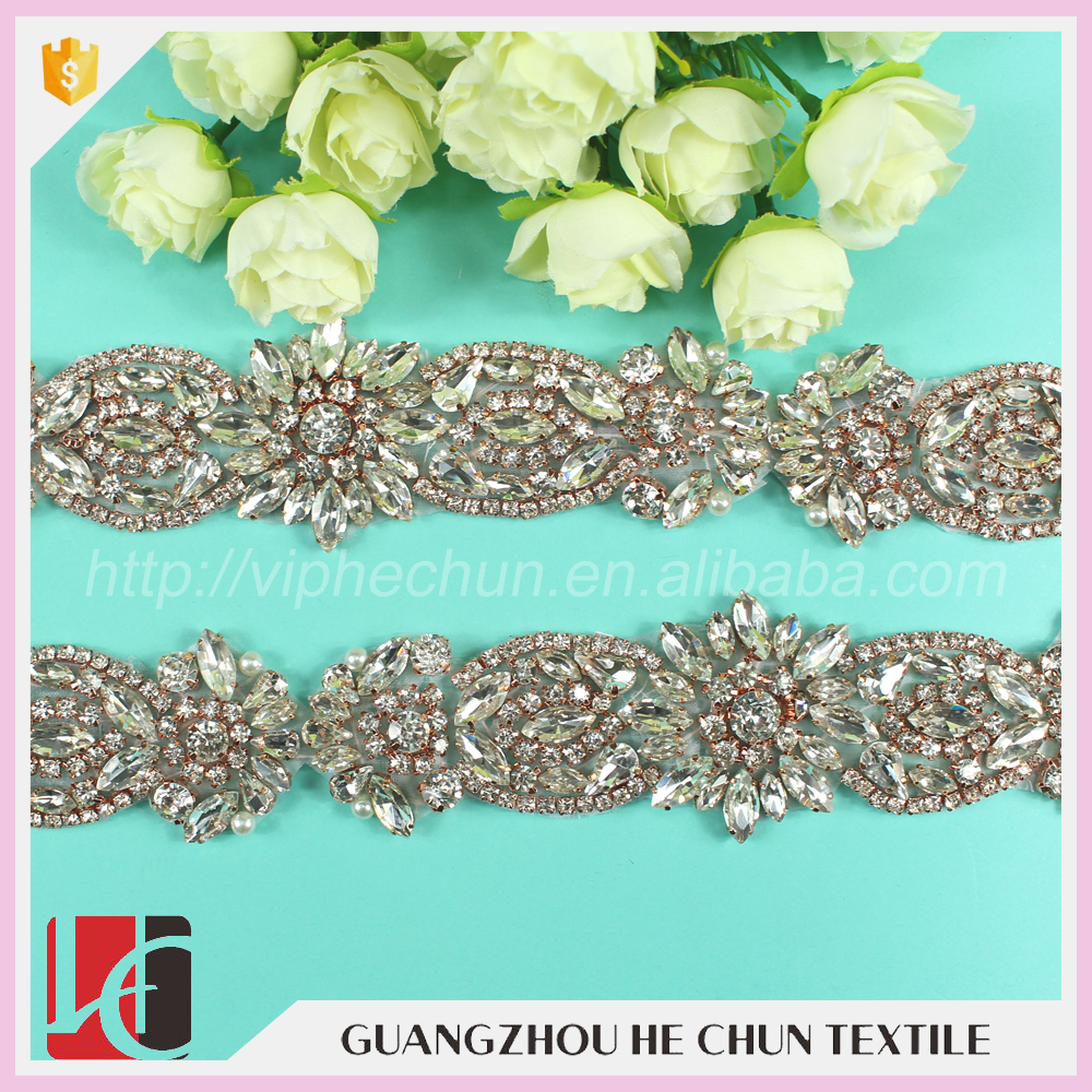 HC-8-1 Hechun Rose Gold Crystal Decorative Stone Beaded Trim for Clothing