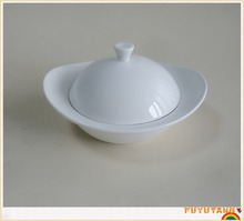 chinese white ceramic and different sizes cheap soup tureen with lid