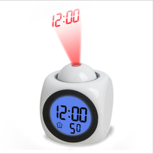 Multi-function Digital LCD Voice Talking LED Projection Alarm Clock Black