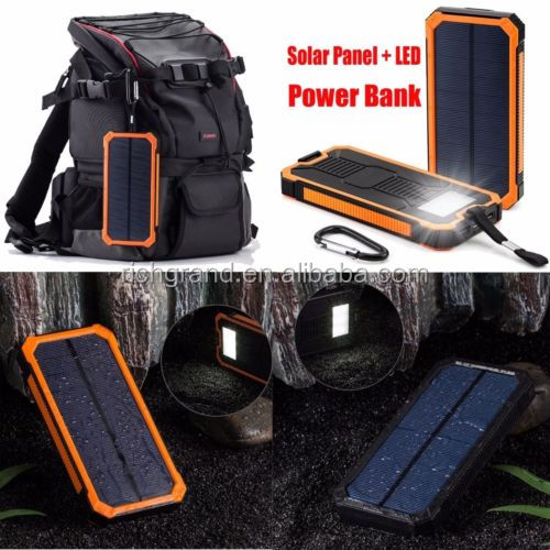 10000mAh Waterproof Solar Power Bank Dual Portable Battery Charger for universal mobile phone