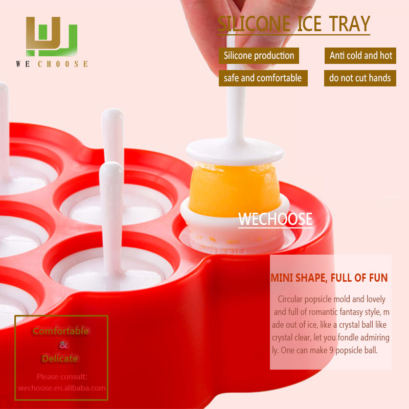 Wholesale cool in summer DIY fuit popsicle mini silicone ice cube mold vivid and great ice cube tray
