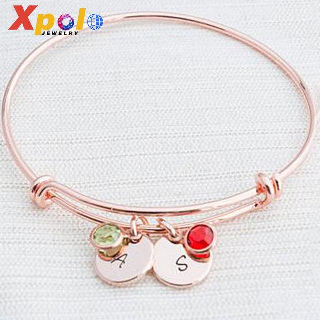 Fashion Adjustable Initial & Birthstone Charm bangle bracelet rose gold jewelry