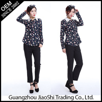 New model chiffon blouse designs long sleeve printed women blouse for spring and summer