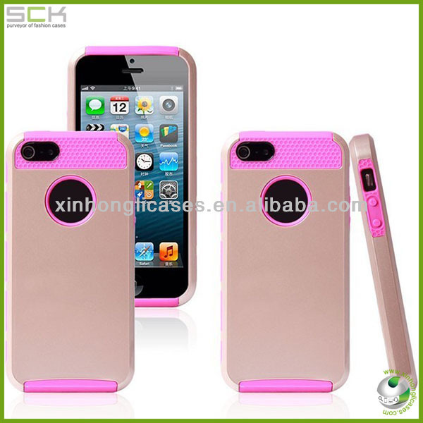 New Product 2-in-1 Hard Silicone Phone Case Cover For iPhone 5