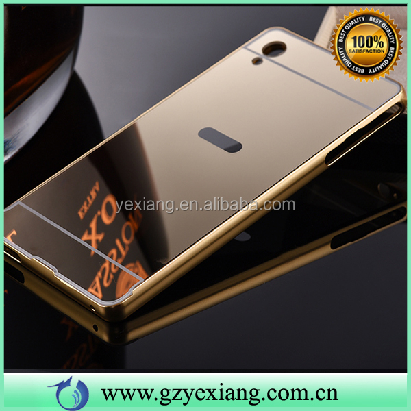 Mirror Back Skin Luxury Bumper Metal Aluminum Hard Case Cover For Sony Z2 Z3 Z4 Z5