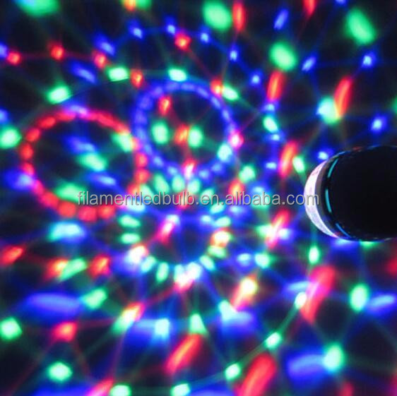 Hot sale Multi Color E27/E26/B22 RGB Rotating LED Disco Ball Bulb for retail market
