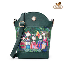 wholesale alibaba fashion forest cartoon print cell phone bag women leather mini crossbody bag