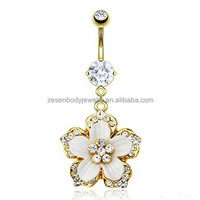 Wholesale Clear Crystal Flower Gold Chain Dangle Belly Ring Navel Piercing Body Jewelry