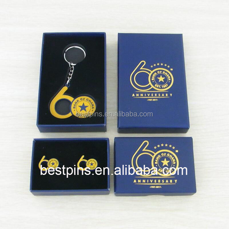 bank of ghana 60 years anniversary metal keyring bottle opener and cufflinks sets with gift case
