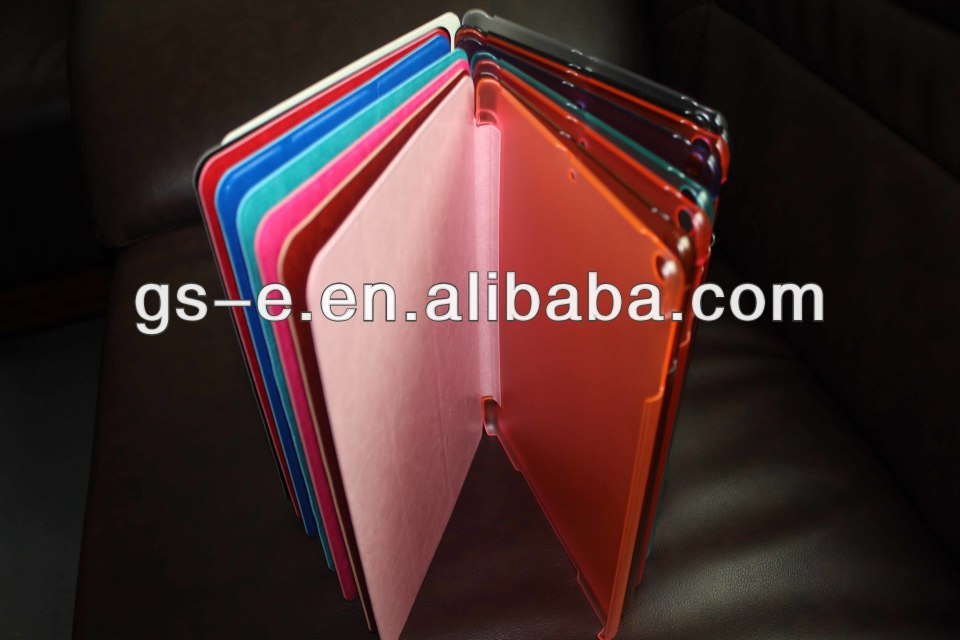 Foldable Flip Leather Stand Case With Crystal Plastic Cover Case For iPAD Air iPad MINI