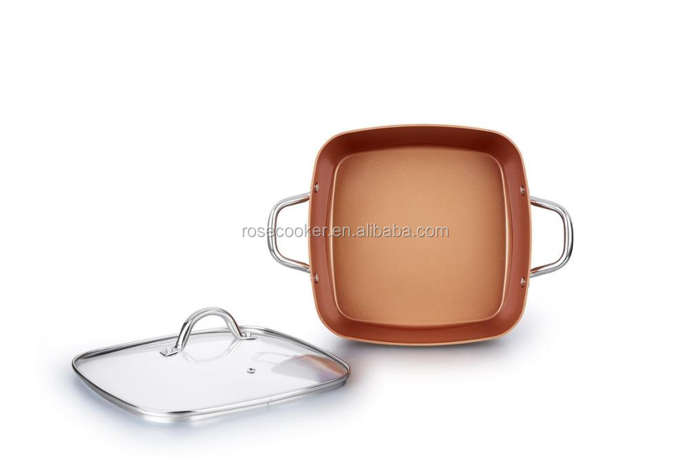 Square Copper Pan Ceramic Non stick cookware 28cm aluminum fry pan as seen on TV