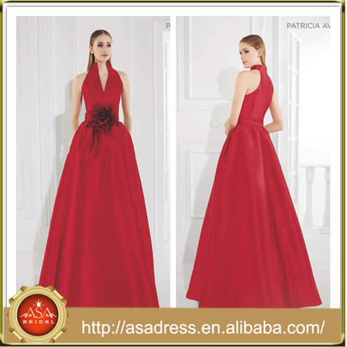 AED06 2015 New Fashion A-Line Flower Formal Party Evening Dresses Sleeveless Sexy High V-Neck Long Satin Evening Gown
