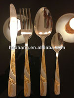 24pcs stainless Steel 18/0 gold Flatware set dough portioner