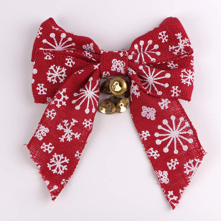 white snow red jute christmas bow ribbon