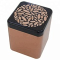 Factory wholesale new design embossed square  tea tin box with plug lid