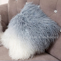 CX-D-57 40x40cm Rabbit Mongolian Lamb Fur Plush Cushion Cover