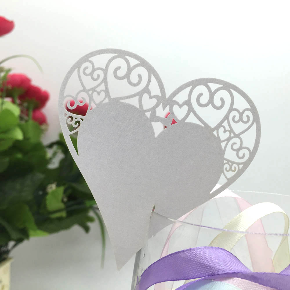 36pcs/lot Name Place Cards Love Heart Wine Glass Cards Table Wedding Party Decoration