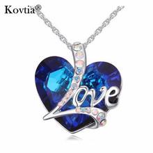 High End European Fashion The Heart of The Ocean Diamond Sapphire Necklace with Love Letters