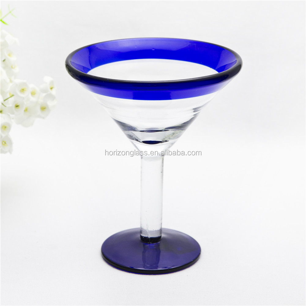 Hot Sale Handmade Clear Led Cocktail Glass Colored Martini Glass