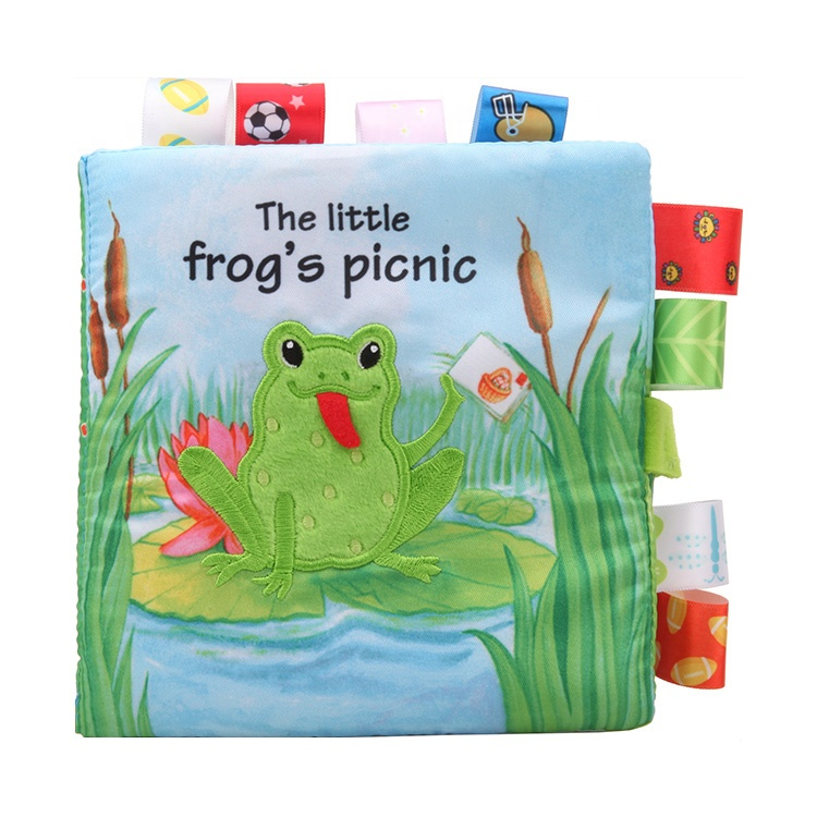 Dolery 2018 New baby soft book frog's picnic tag cloth book learning toys for <strong>kids</strong>