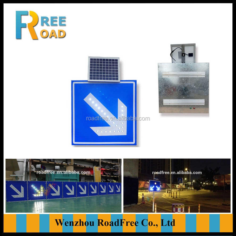 Highway reflective traffic road sign with solar panel