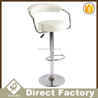 Leisure chrome base white leather bar stool adult high chair for sale