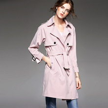 2017 New Style Autumn Winter Season Loose Pink Color Popular Girls Long Trench Coat