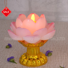 Battery operated LED Chinese lotus candle with moving wick flame