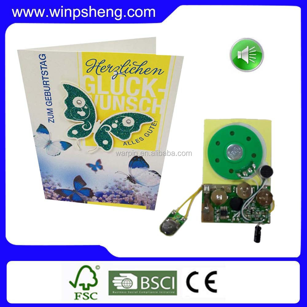 Promotional Sound Chip Mini Recordable Sound Modules For Greeting Cards