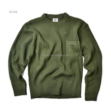 Wool Knitted Green Pullover Sweater Military Army Sweater for Men