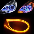 DRL Universal flexible strip Car Led Daytime Running Light Dual Color White + Amber DC12V Auto Led Daytime Running Lamp